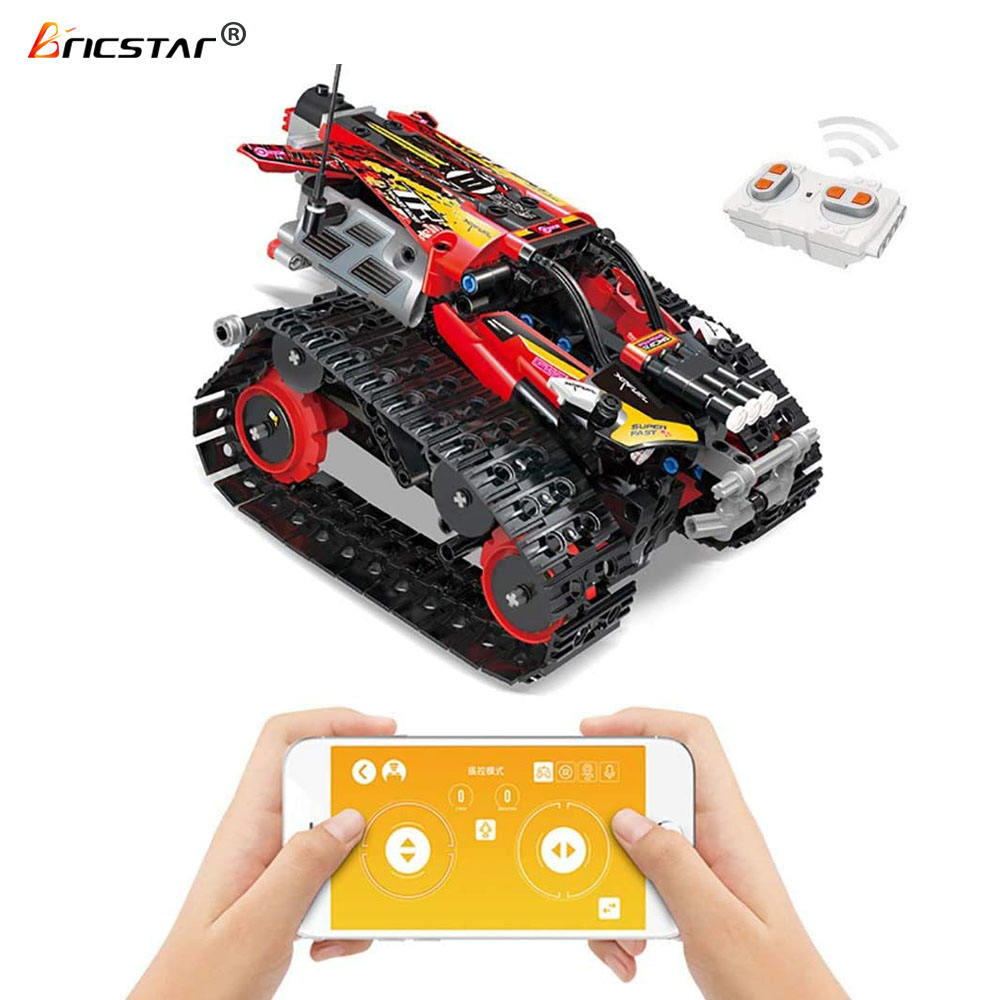 Bricstar stem toys 2.4G 4CH DIY Mobile APP Building Block Remote Control car building toys for kids