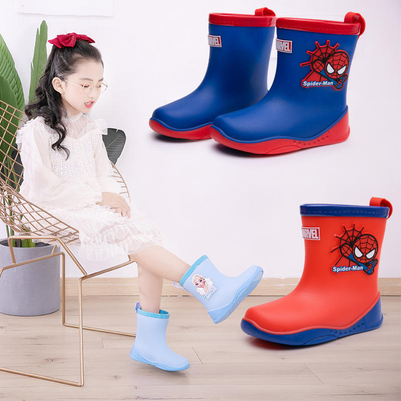 New arrival Frozen Elsa and Anna Spiderman kids girls boys waterproof Rain boots for children school shoes