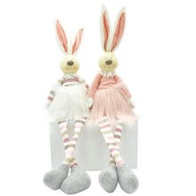 Easter decoration gifts pink plush rabbit figure shelf sitter stripe fabric craft home decor couple bunny with resin head