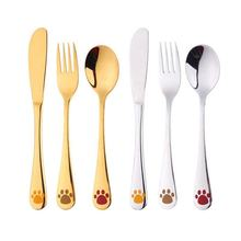 Cartoon Pattern Carving 4 Piece Kids Cutlery Set, Children Tableware Western-style Tableware Copper Cutlery, Fork and Spoon