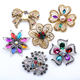 Golden Metal Rhinestone Transparent Flower DIY Customize Vintage Metal Small Hijab Brooch Pin For Ladies