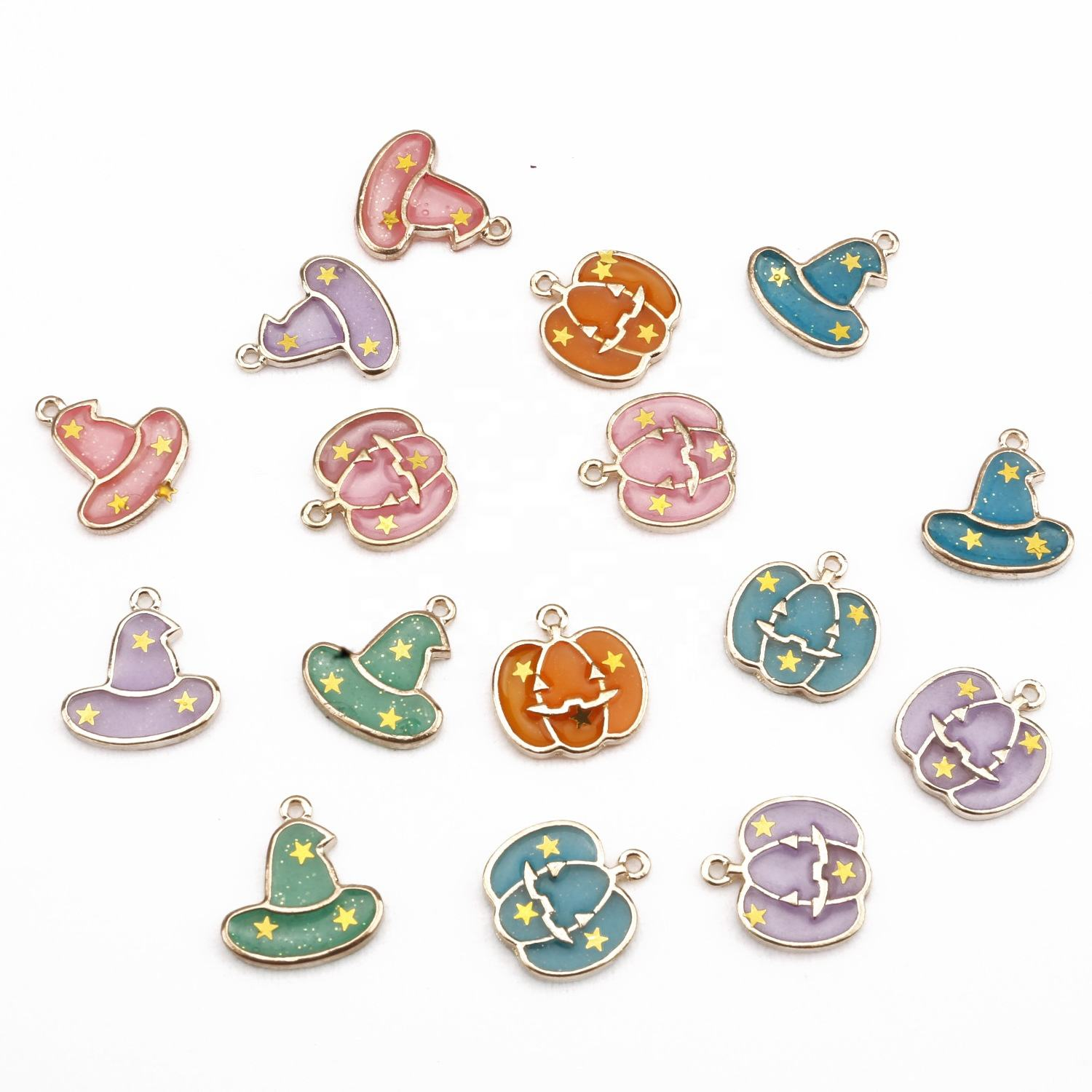 Free Shipping Halloween style multi color pumpkin/witch hat small charm for bracelet making pendant