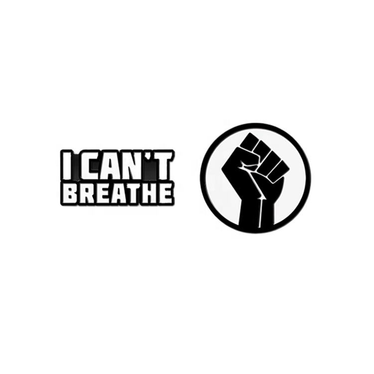 Black Lives Matter George Floyd Custom Enamel Lapel Pins Badge I Can't Breathe Pin in Stock