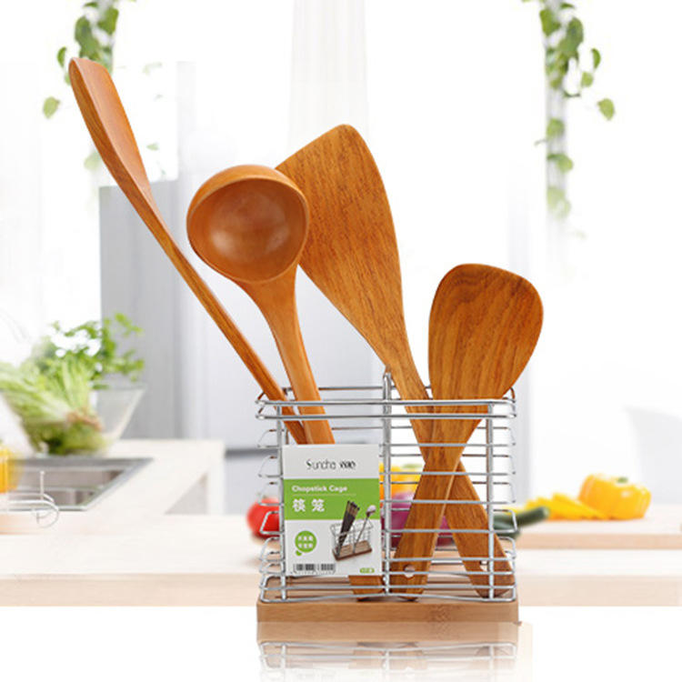 OEM/Wholesale Wood 4pcs Kitchen Utensil Wooden Accessories Slotted Turner Leaky Spoon Cooking Tool Sets Heat Resistant