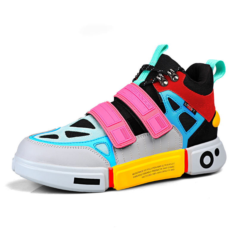 Fashion Outdoor Orange Platform Men Shoes for Couples Microfiber Colorful Walking Shoes High top Men Sneakers Cool casual shoes