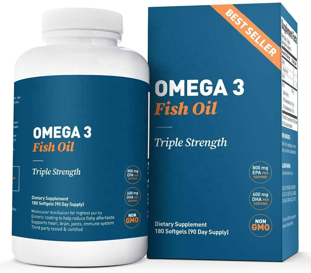 Private Label Fish Oil Supplements Omega 3 Fish Oil Capsules Salmon Fish Oil 180 Capsules