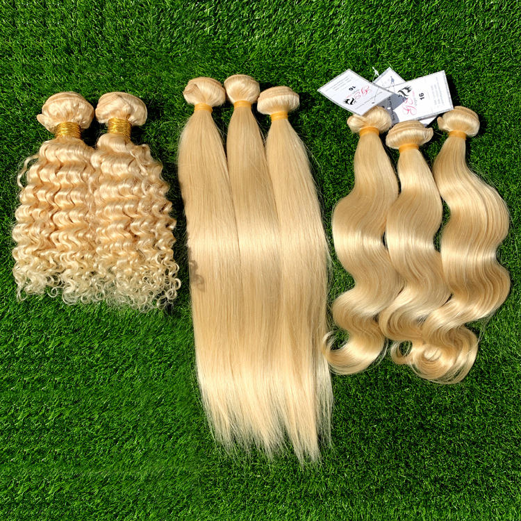 wholesale High quality 100% brazilian loose body wave weave cuticle aligned hair 613 curly blonde hair extensions for black hair