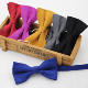 New Fashion Solid Micro Suede Bowties Groom Leather Mens Plaid Soft Cravat For Men Butterfly Gravata Male Wedding Bow Ties