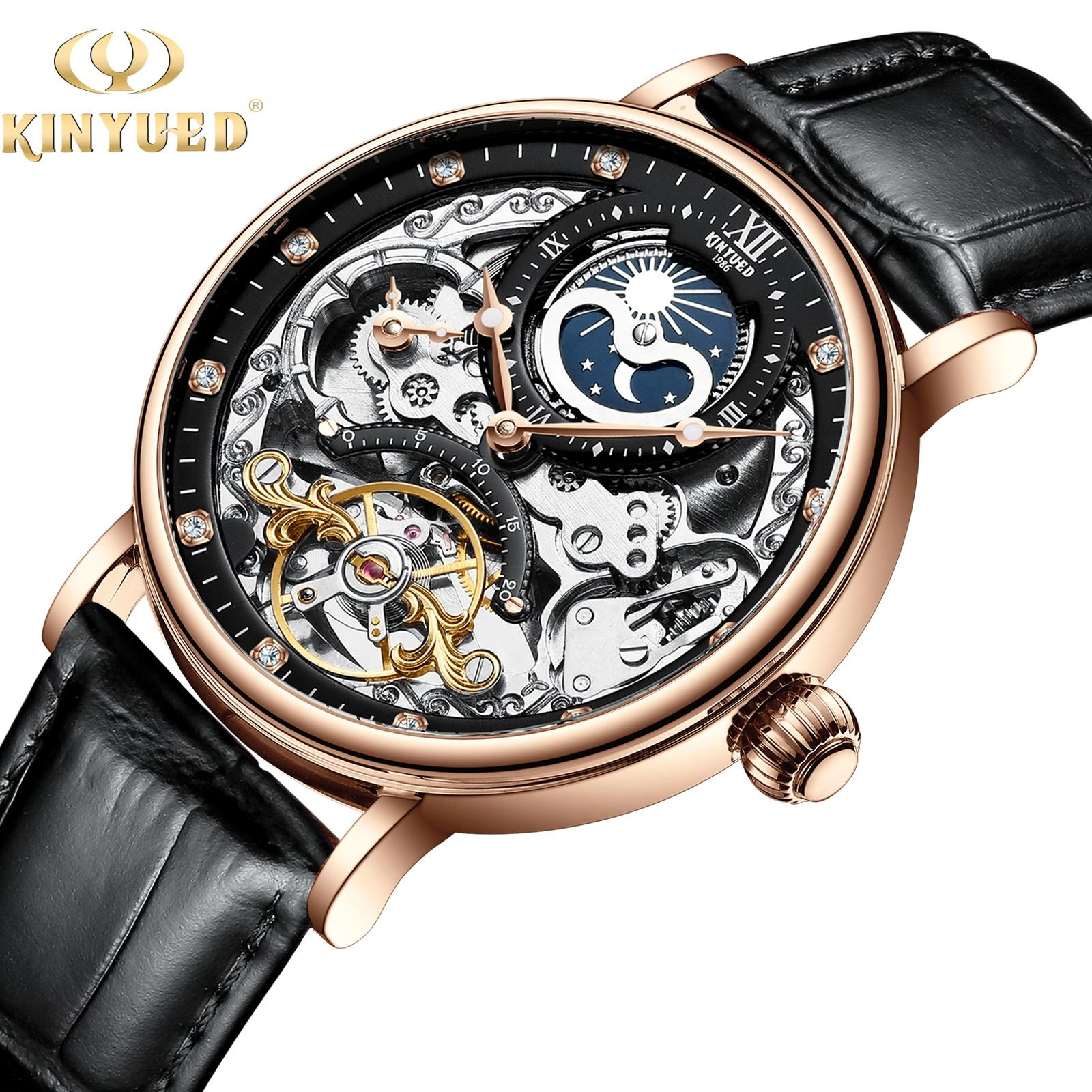 KINYUED Tourbillon mechanical movement waterproof wrist watches one year warranty