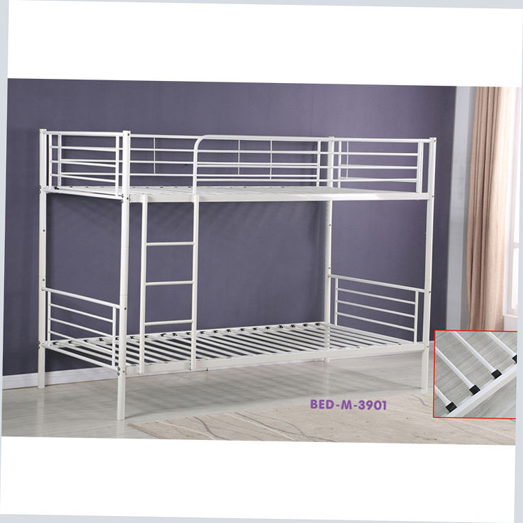 Bunk Bed With Sideways Slide Bamboo Dormitory For Three People Space Saving Small Room Double Deck Metal Adult Heap Single