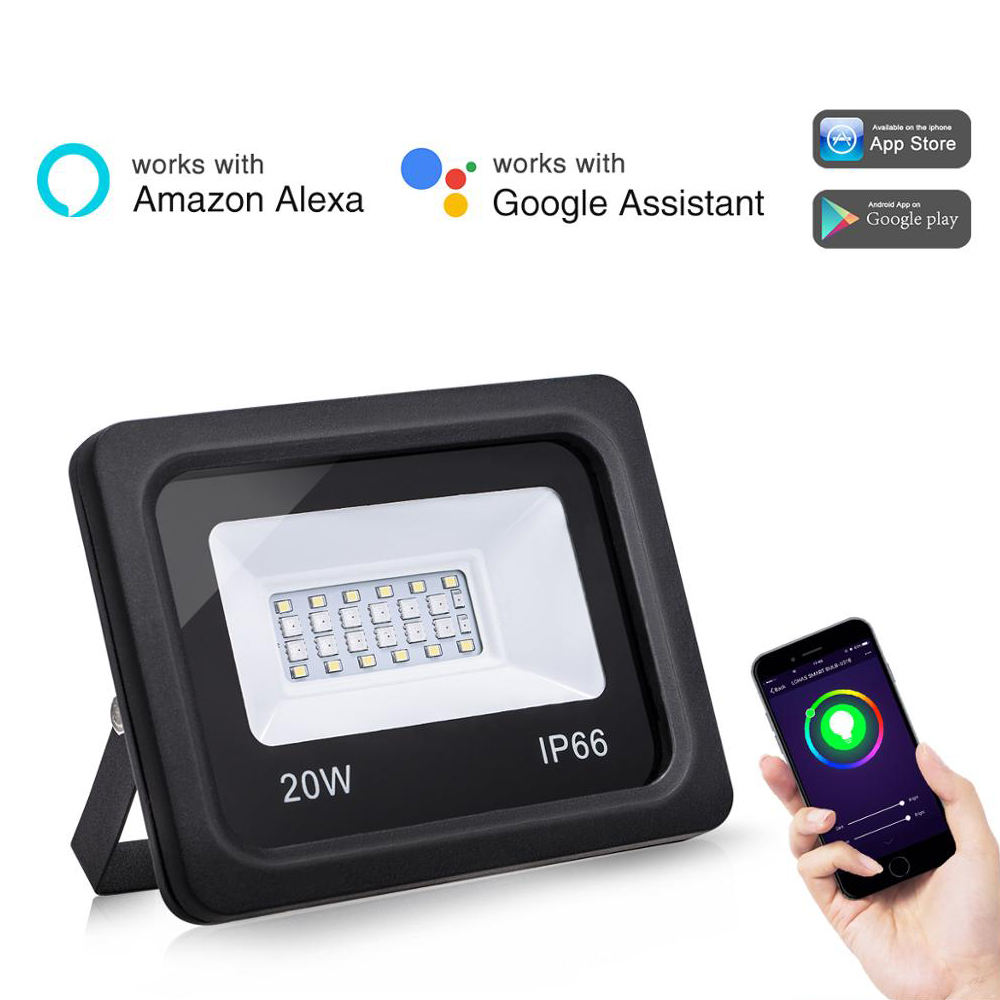 Tuya Smart APP Controlled Smart Flood Light RGBW WiFi Smart Flood Light Compatible With Alexa