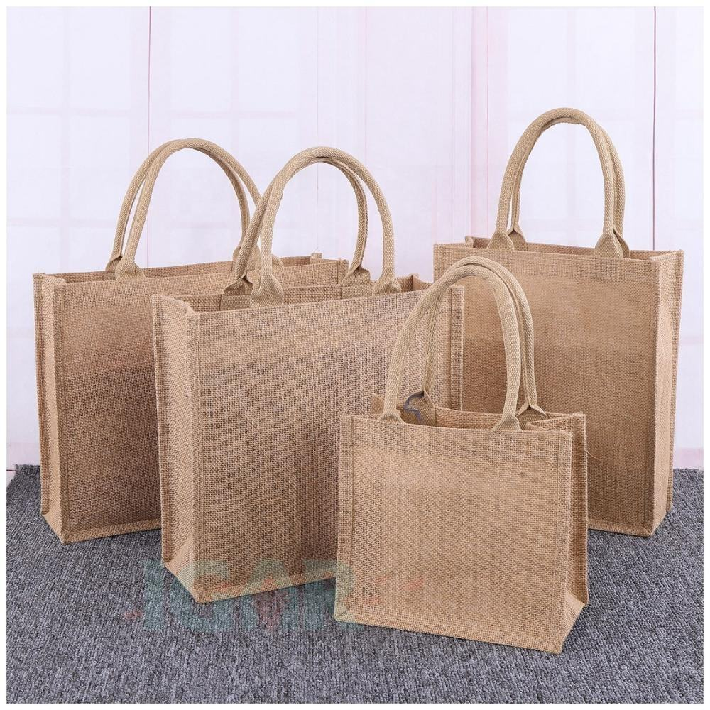 Natural Burlap Jute Tote EcoRight Jute Canvas Tote Bag with zipper - Reusable 100% Eco Friendly Large Size shopping Bags