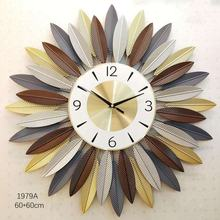 High Quality Round  Metal Wall Hanging Art Clock Living room modern simple light luxury clock
