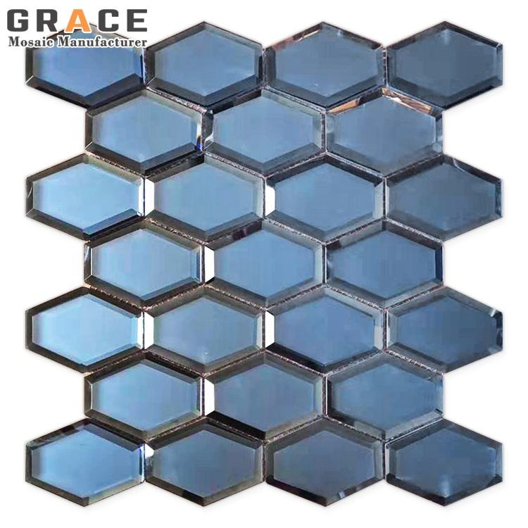 Wall Decor 3D Mosaic Facade Glass Peel And Stick Mirror Prism Tiles Block Convex Crafts Floor Tile