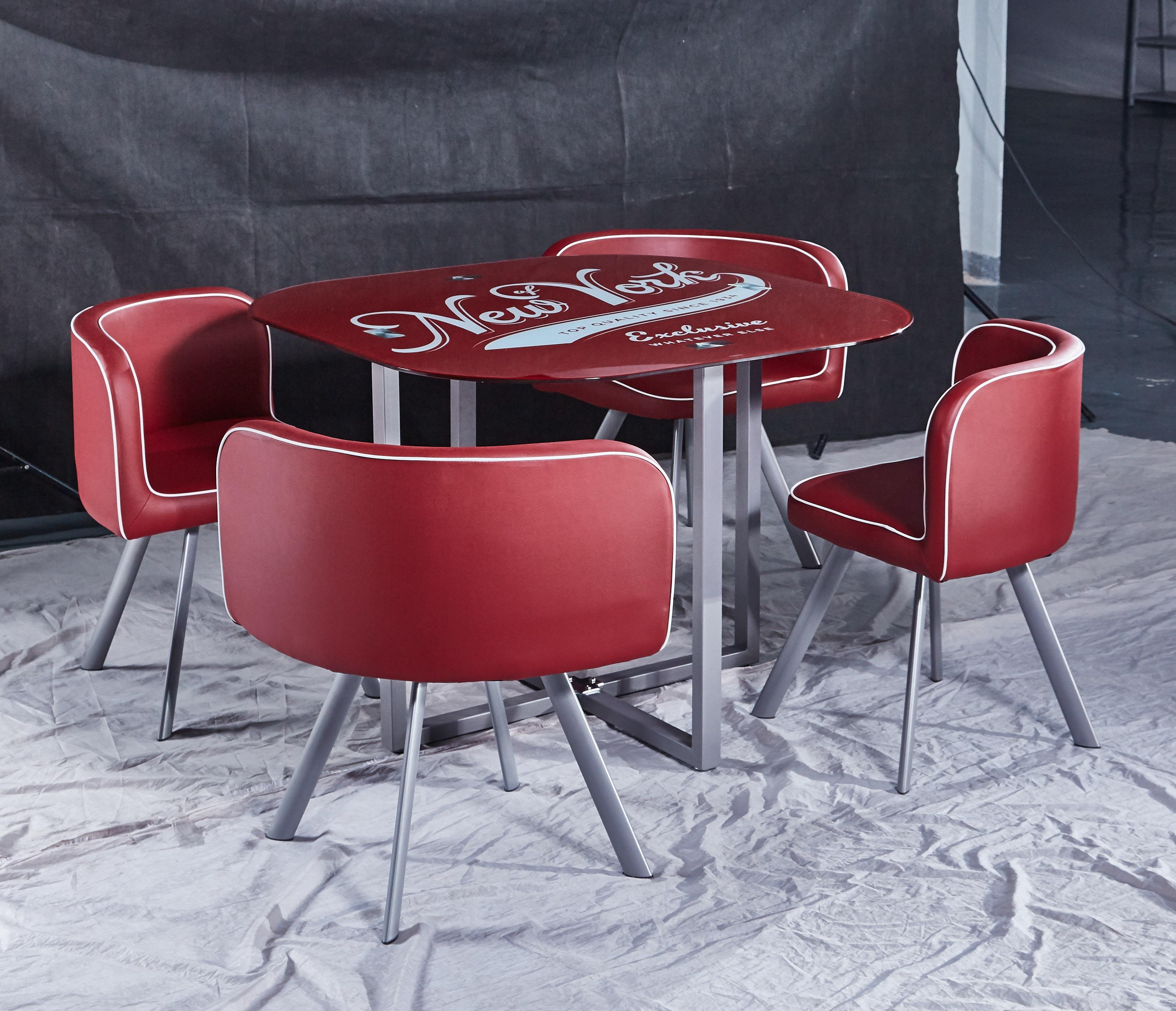 Round tempered glass top dining table with 4 chairs dining set coffee table set