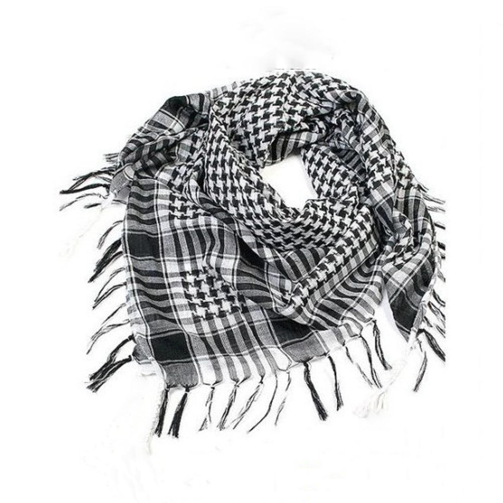Q703 Cotton Scarf 95*95cm Military Shemagh Tactical Desert Keffiyeh Head Neck Scarf Arab Wrap with Tassel Other Scarves