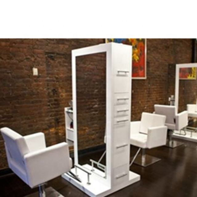 cheap salon styling stations double sided barber mirror station