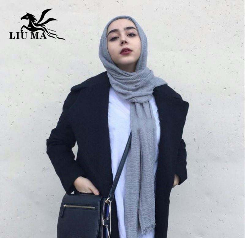 Scarf Women Hijab Muslim 180*70CM Crinkle Coton Wrap Scarf Supplier 7 Colors For Choice