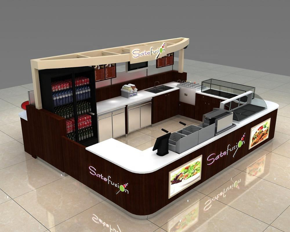 Mall Sushi Bar Counter Modern Design Wooden Sushi Kiosk Customized Food Kiosk