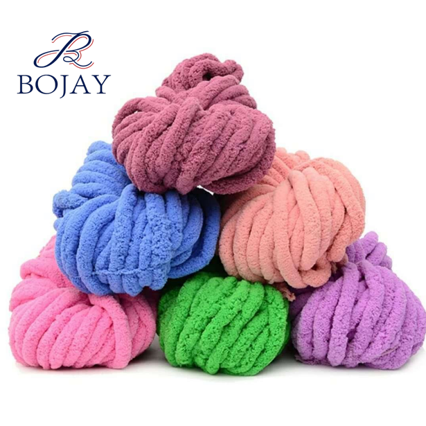 Super soft chunky chenille yarn thick hand knitting yarn, 2cm thickness with 35 colors in stock, 100% Polyester Chenille yarn
