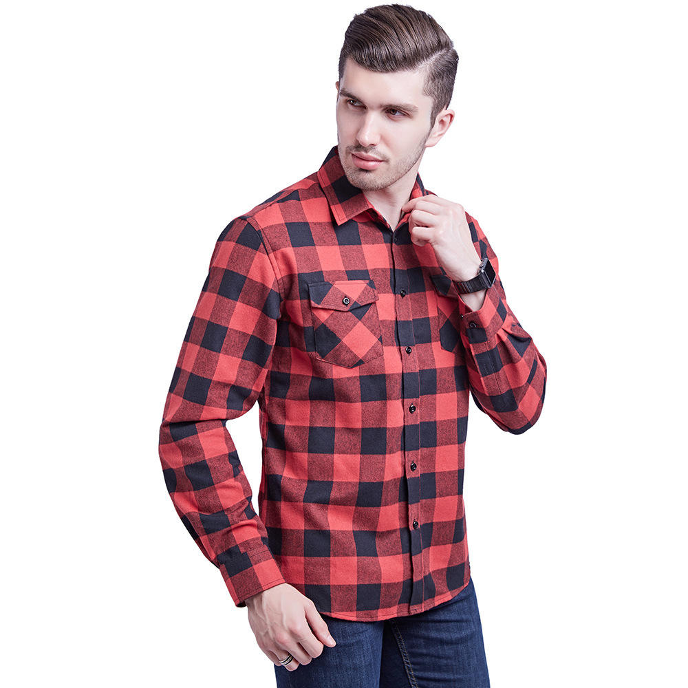 New arrival two pocket slim fit men flannel plaid shirt