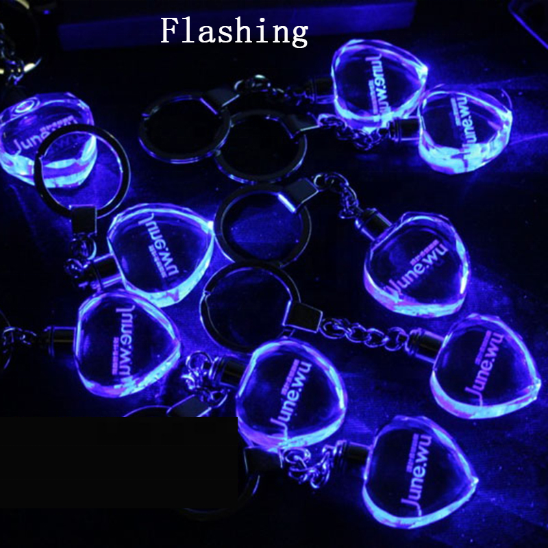Customized Logo 3D Laser Engraving Crystal Glass Keychain Blank Keychain photo for Promotional