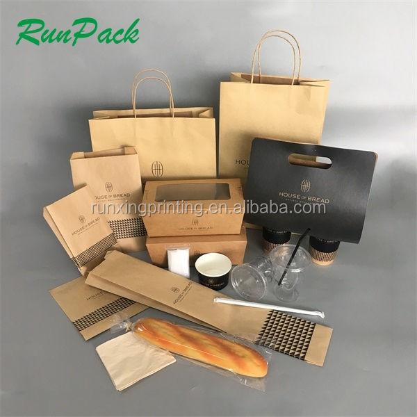 custom take out different size paper Kraft box with lid,food to go boxes,disposable food container