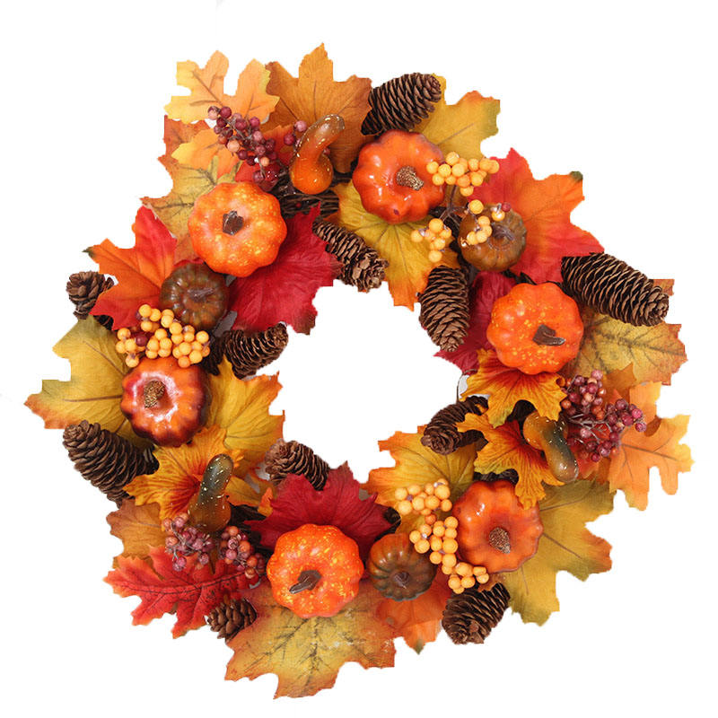 Supplies wholesale Autumn pumpkin berry christmas wreath decorative