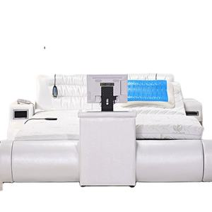 modern design spa massage smart bed king or queen size leather massage bed with bed end tv