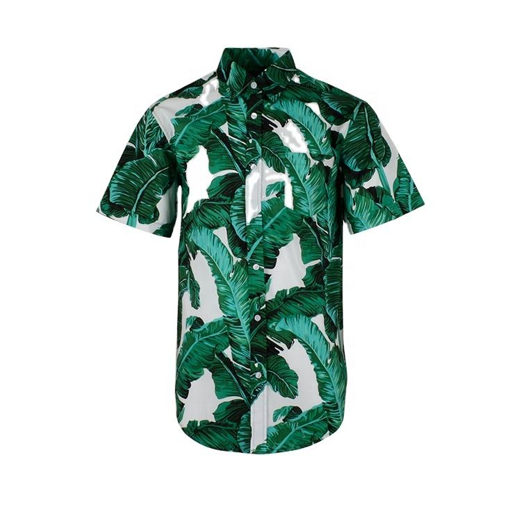 High quality wholesale cotton short sleeve big tropical leaf printed men green hawai shirt
