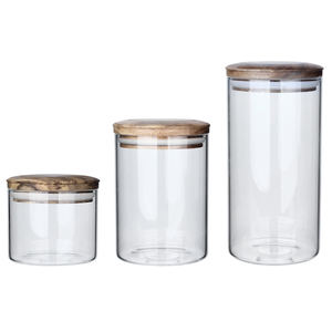 Single Layer Glass Kitchen Storage Containers Set Crystal Candy Jars Glass With Airtight Bamboo Lid
