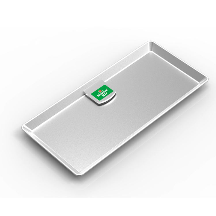 120x120mm advertising silver hips plastic check bill holder tray with custom logo