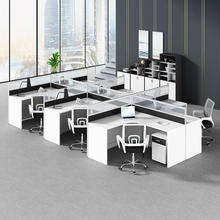 Office Divider Cubicles L Shape 6 Person Workstation With Glass Divider With 3 Drawer Pedestal