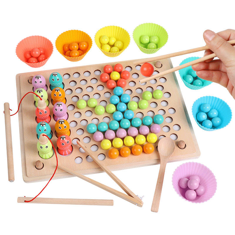 2 In 1 Clip Beads Magnetic Fishing Game Toy Set Educational Wooden Toys For Children Kids Montessori Game