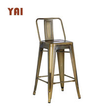 cheap commercial short back vintage metal industrial chair wood metal frame bar stool