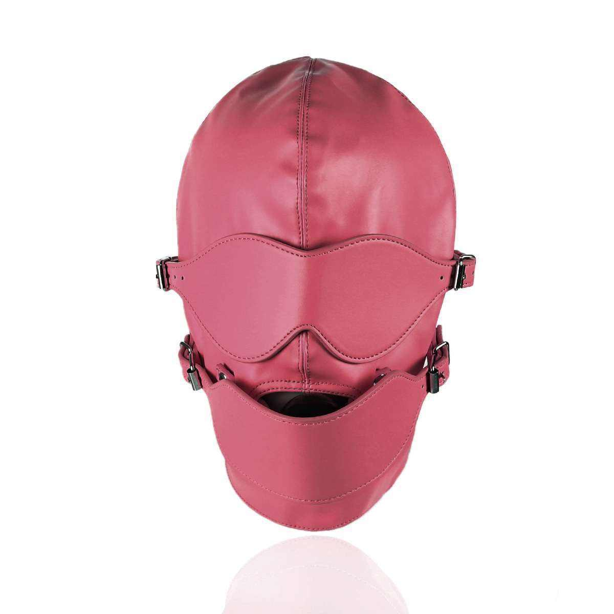 Ninghao Leather Headgear Full Face Bondage with Ball Gag Mouth Hood Sex Harness