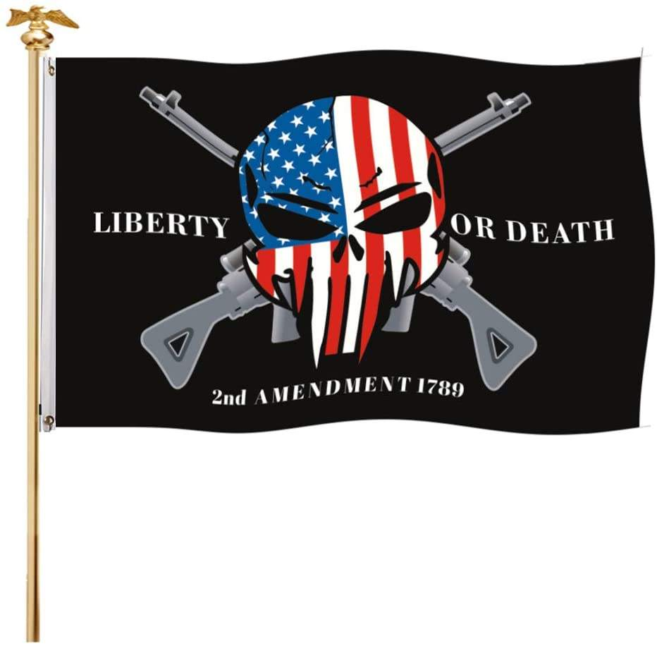 Liberty Of Death Vlag 2nd Wijziging Punisher Skull Cross Rifle Amerikaanse 3X5 Outdoor <span class=keywords><strong>Vlaggen</strong></span>