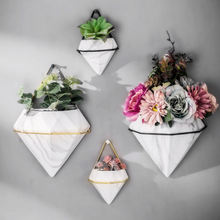 Custom Marble pattern wall-mounted  home decoration flower pot ceramic vase