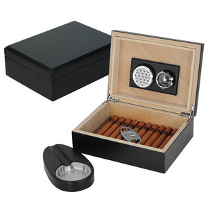 Sonny Humidor Set Black Matte Lacquer Wooden Seal Cigar Box