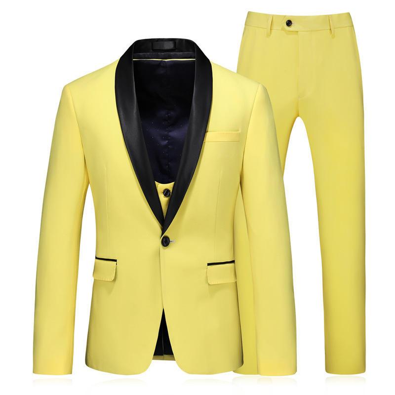 Alta qualità Groomsmen Scialle risvolto smoking dello sposo Shiny Blue abiti da uomo da sposa Prom Best Man Blazer (Jacket Pants Tie) Ø130
