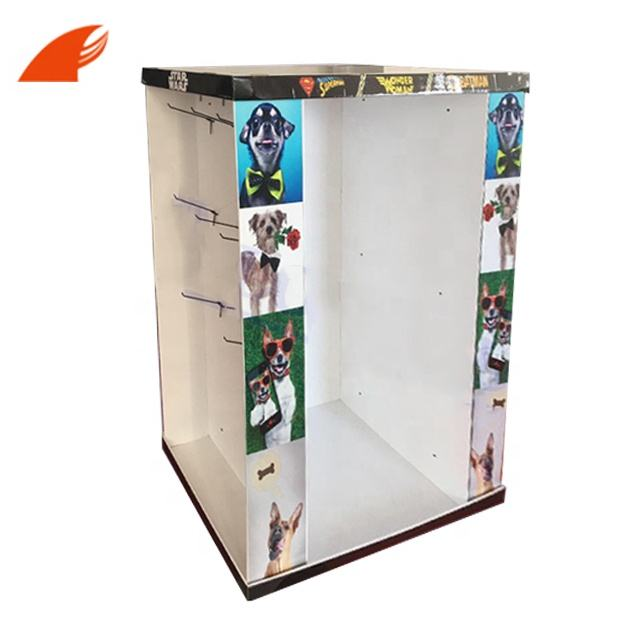 China Customized Pet Products Corrugated Cardboard Pallet Display With Plastic Hooks