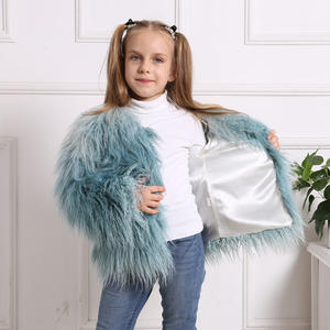 winter new style cute blue faux fake fur furry plush kids girls fur coat jacket outwear