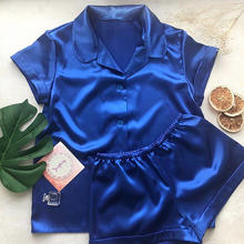 New Arrival Quality Button Down Solid Satin Pajama Set for Women