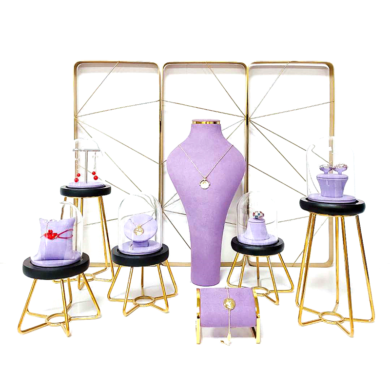SESI Custom Brand Jewelry Stands Organizer And Displays Luxury Velvet Metal Jewelry Display Stand Set