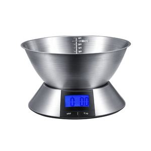 5Kg high quality stainless steel waterproof glass food digital electronic kitchen scale with bowl