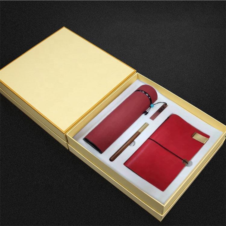 Low MOQ Custom Logo Promotional Luxury Business Vacuum Cup USB Flash Disk Pens Notebook Gift Set