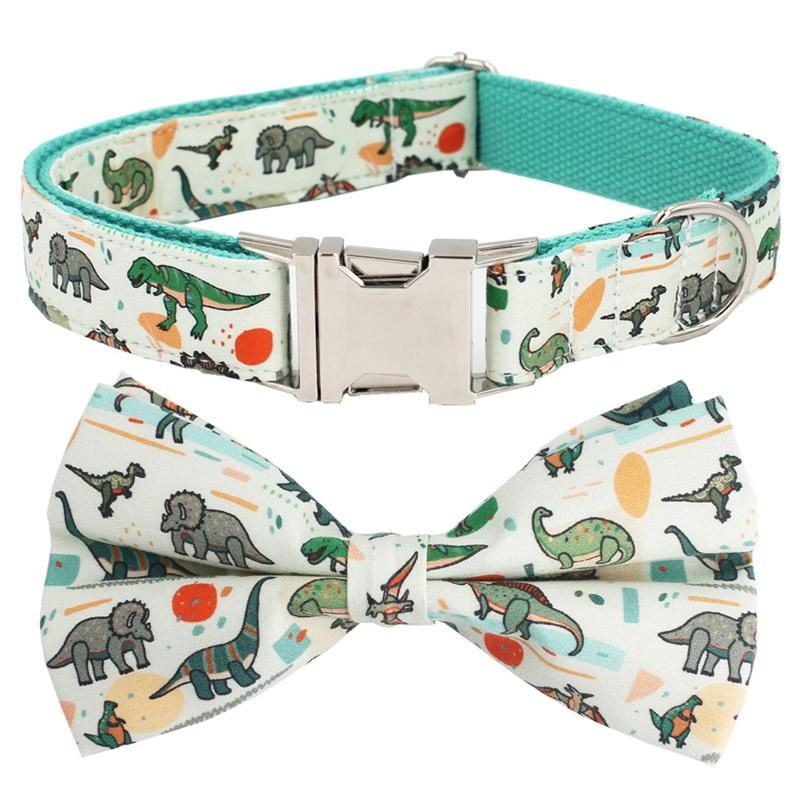 dinosaur leash set with bow tie for big and small dog cotton fabric collar rose gold metal buckle