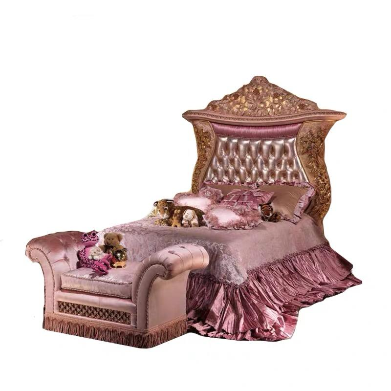 Luxury pink color with gold children girl bedroom furniture ,gold single bed with italian bedroom sets luxury -ART91000
