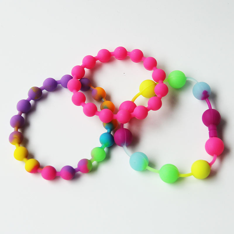 Newest product fashion accessories soft rubber wristband custom Silicone Bead Bracelets