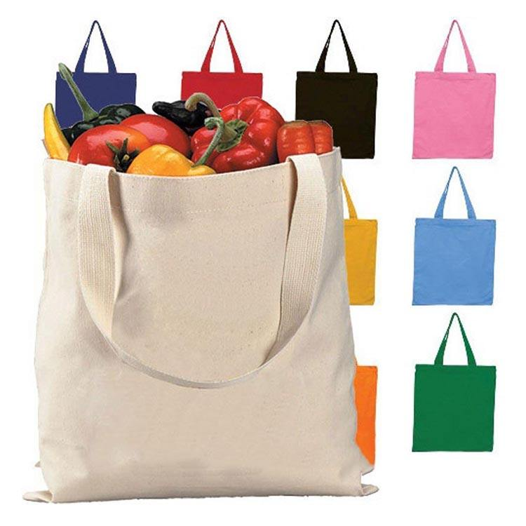 Promotional customized logo size canvas organic fabric tote blank cotton shopping canvas organic cotton produce cloth bag